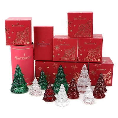 Waterford Crystal Red, Green, and Clear Christmas Tree Figurines