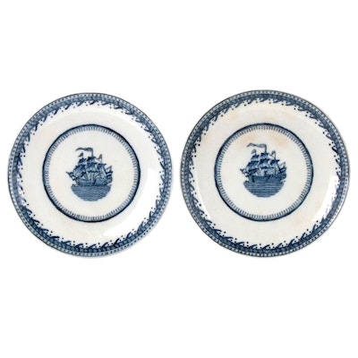 Chinese Export Blue and White Porcelain Ship Plates, 19th Century