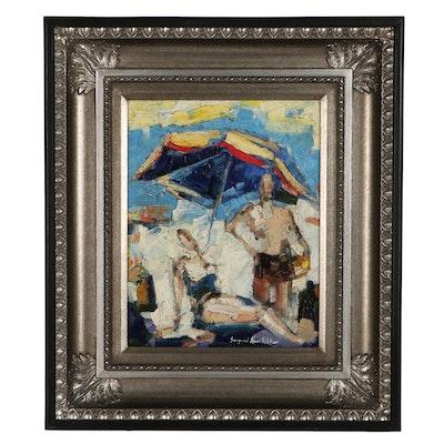 "Serguei Novitchkov Abstract Oil Painting ""The Share Under the Sun,"" 2020"