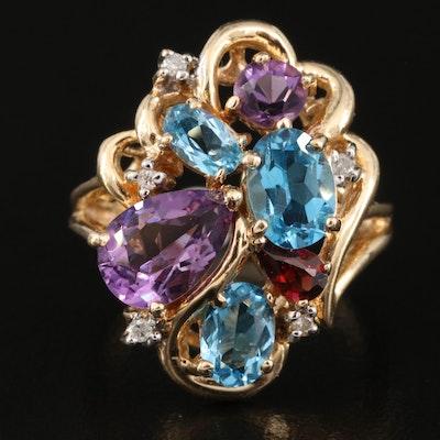 14K Swiss Blue Topaz, Amethyst, Garnet and Diamond Cluster Ring