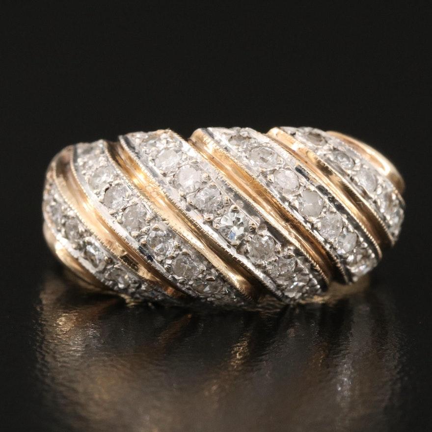 14K 0.72 CTW Diamond Striped Dome Ring