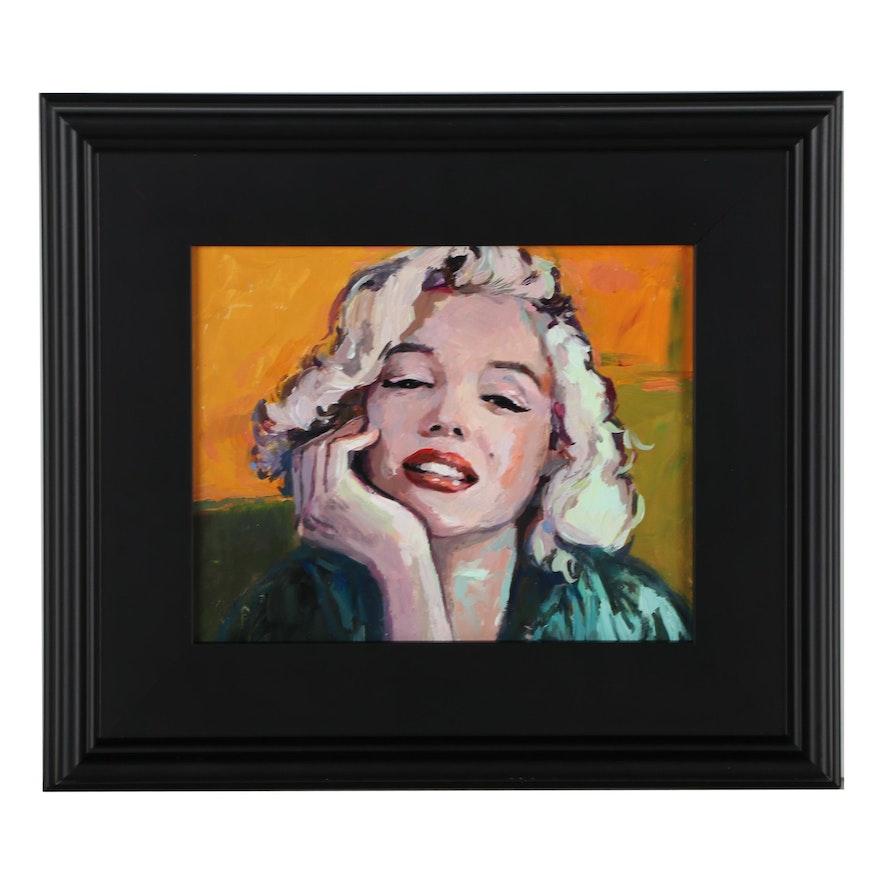 "Adam Deda Oil Painting ""Yellow Marilyn,"" 2021"