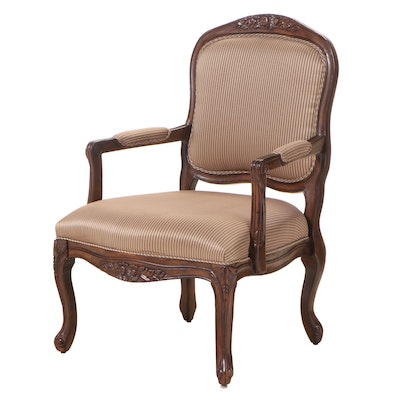 Hammary Furniture Louis XV Style Walnut-Stained and Custom-Upholstered Fauteuil