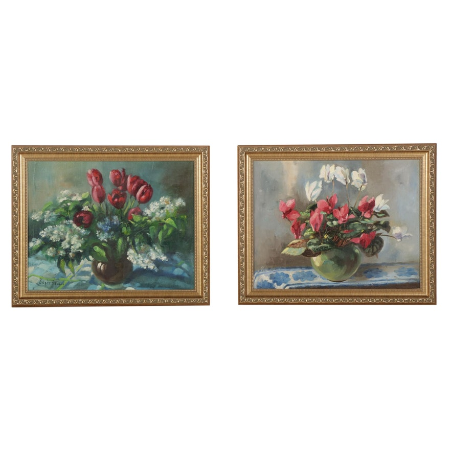 Zsuzanna Suger Floral Still Life Oil Paintings, Mid-Late 20th Century