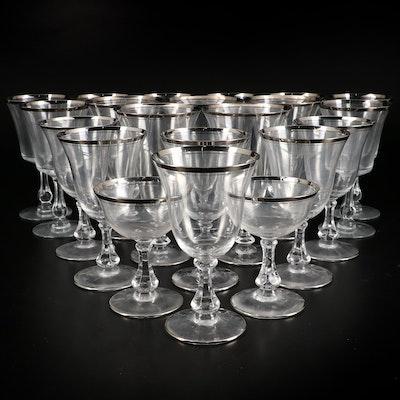 "Fostoria ""Sheffield"" Water Goblets and Other Platinum Trimmed Glass Stemware"