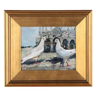 """Adam Deda Oil Painting """"Palomas Blancas,"""" 2021"""