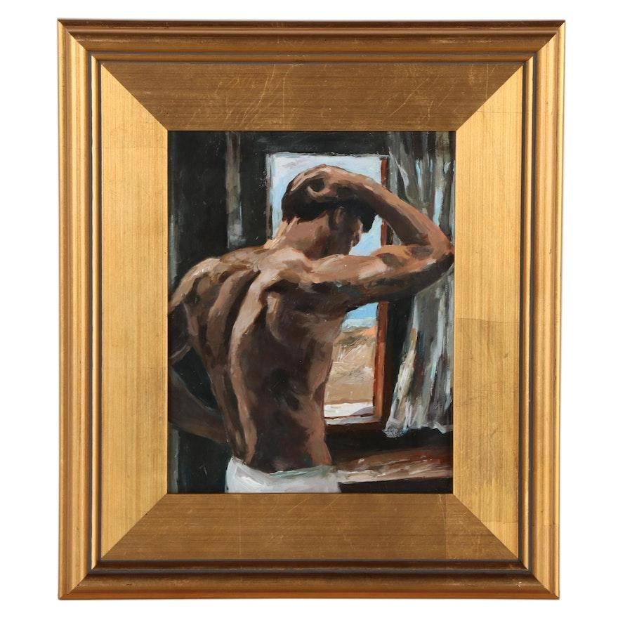 "Adam Deda Figural Oil Painting ""At The Window,"" 2021"
