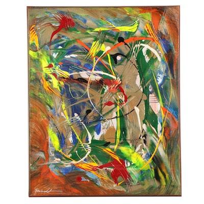 Farshad Lanjani Abstract Oil Painting, 21st Century
