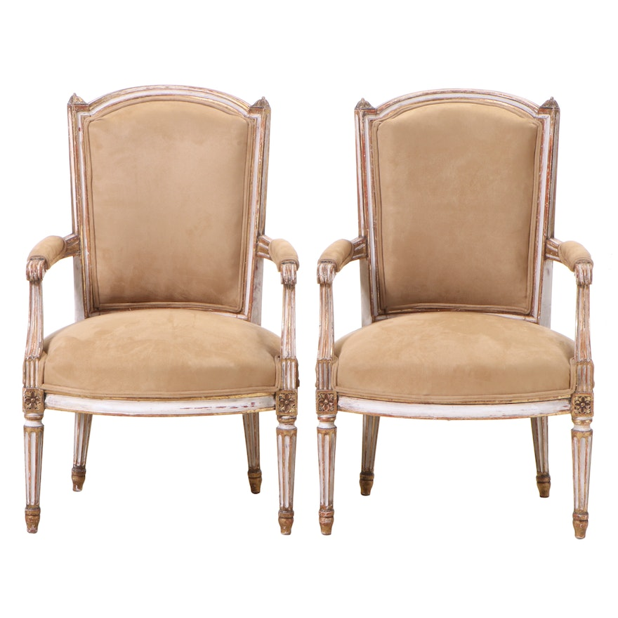 Pair of Louis XVI Style Painted and Parcel-Gilt Beech Fauteuils, 20th Century