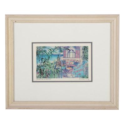 """Eileen Seitz Offset Lithograph """"Island Bed & Breakfast"""""""