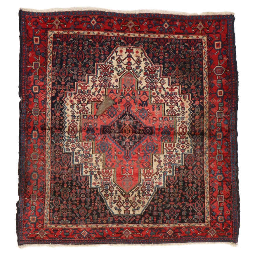 4'3 x 4'7 Hand-Knotted Persian Senneh Area Rug