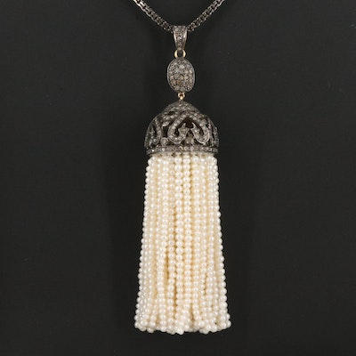 Sterling Seed Pearl and 1.60 CTW Diamond Sautoir