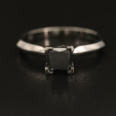 10K 0.71 CT Fancy Black Diamond Solitaire Knife Edge Ring