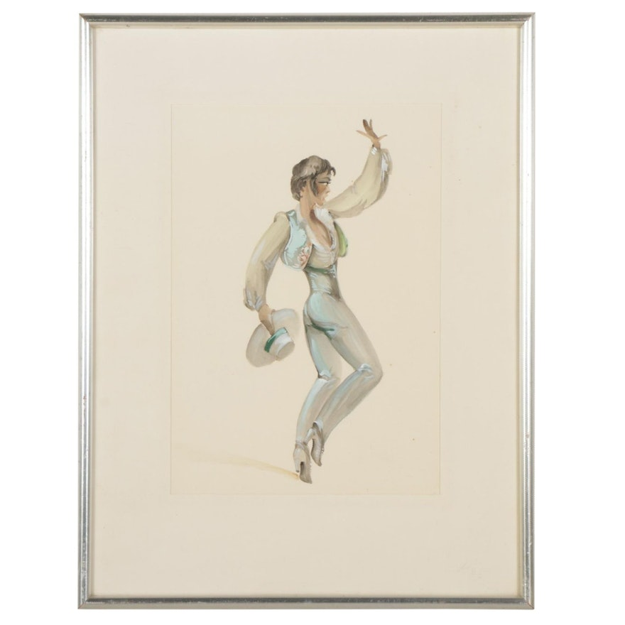Male Flamenco Dancer Gouache Painting, Mid-Late 20th Century
