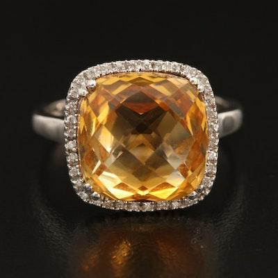 14K Citrine and Diamond Halo Ring
