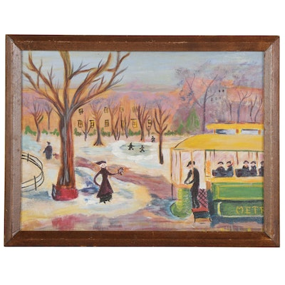 Winter City Park With Streetcar Acrylic Painting, Mid-Late 20th Century