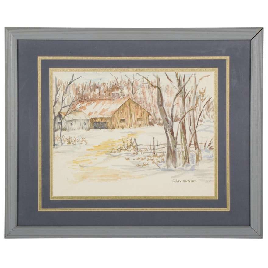 Charlotte Livingston Winter Barn Watercolor Painting, Mid-Late 20th Century