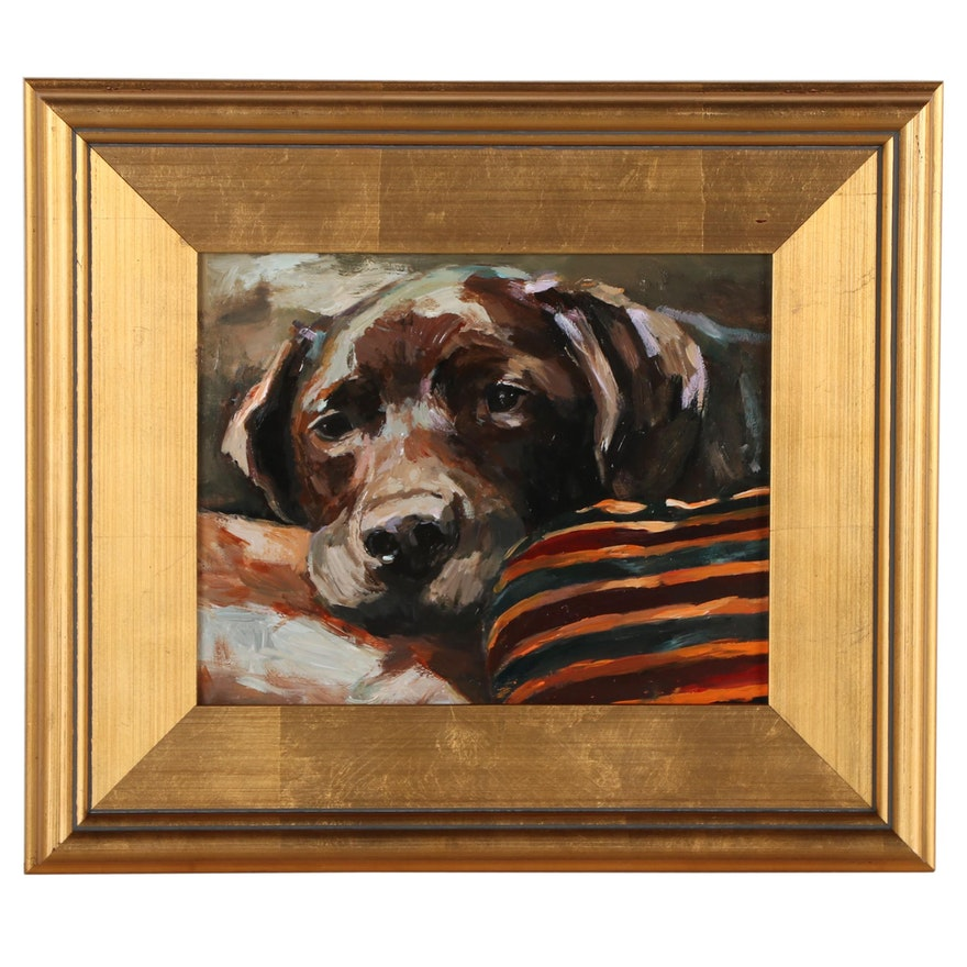"Adam Deda Oil Painting ""Chocolate Labrador,"" 2021"