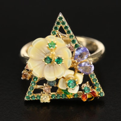 Sterling Giardinetti Triangle Ring with Tanzanite and Enamel
