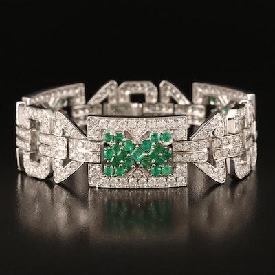 14K 8.30 CTW Diamond and Emerald Bracelet