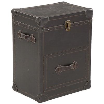 Contemporary Bonded Leather Finished Lift-Top Storage Chest End Table