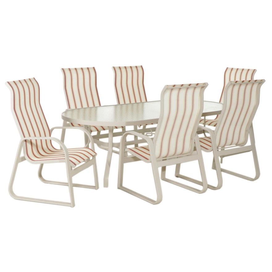 Glass Top Patio Dining Table with Six Chairs