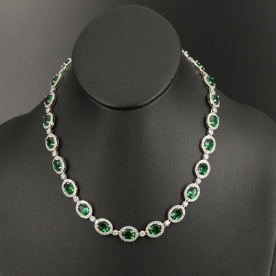 Sterling Oval Link Necklace with Glass and Cubic Zirconia