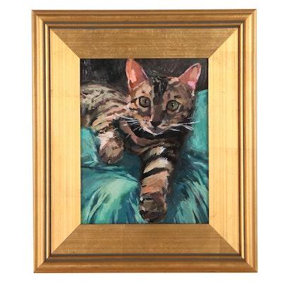 """Adam Deda Oil Painting """"Aristo-Cat,"""" 2021"""