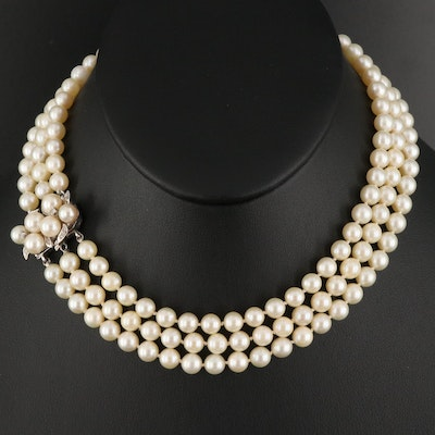 Triple Strand Pearl Necklace with 14K Diamond Clasp