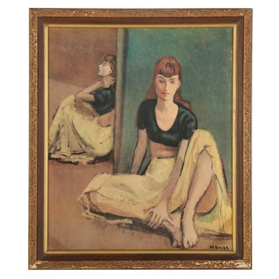 """Offset Lithograph After Moses Soyer """"Dancers at Rest,"""" Mid-Late 20th Century"""