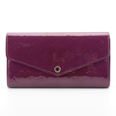 Louis Vuitton Portefeuille Sarah NM in Amethyste Monogram Vernis Leather/Box
