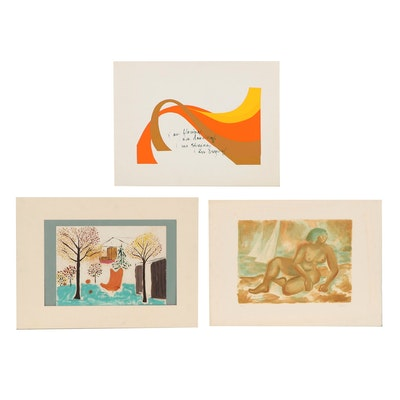 Figural and Interior Scene Gouache Painting, Serigraph and Lithograph