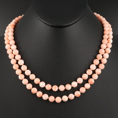 Double Strand Coral Beaded Necklace with 14K Diamond Clasp
