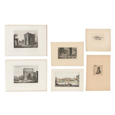 Cityscape and Nautical Etchings, Early-Mid 20th Century