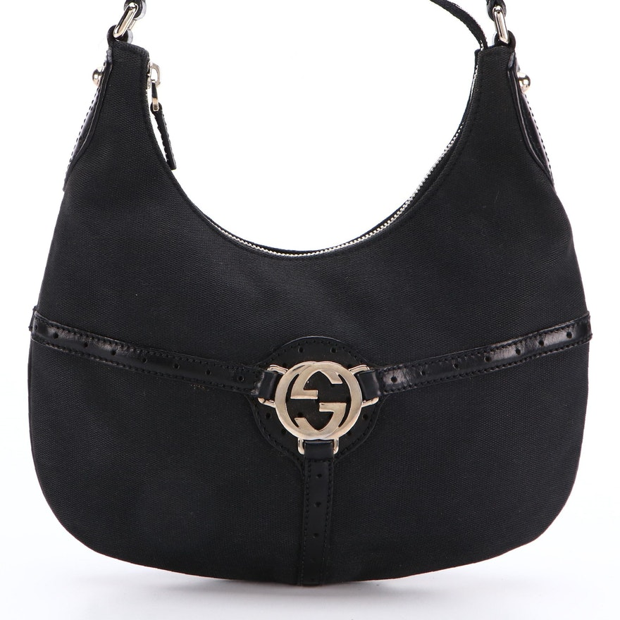 Gucci Reins Hobo Shoulder Bag in Black Canvas and Perforated Leather
