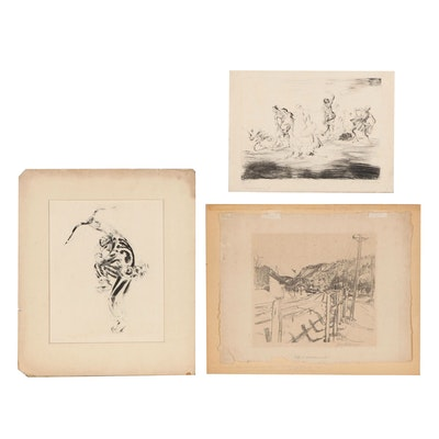 Landscape Etchings with Figures, Early 20th Century