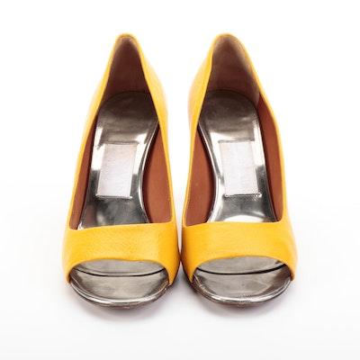 Lanvin Peep Toe Pumps in Yellow Lambskin with Box