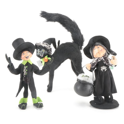 """Annalee """"Ghostly Hag"""", """"Ghostly Halloween Elf"""" and """"Scaredy Cat"""" Figurines"""