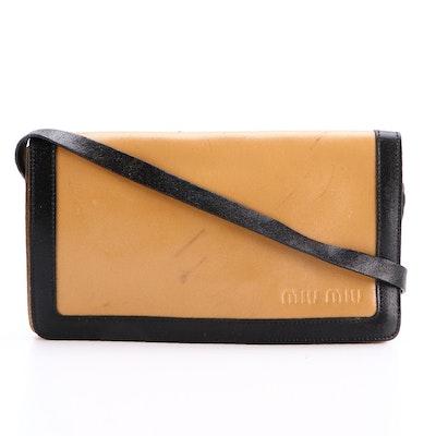Miu Miu Small Front Flap Shoulder Bag in Camel/Black Leather and Mesh