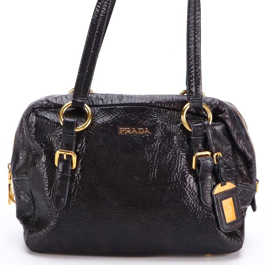 Prada Shoulder Bag in Black Crinkled Patent Leather
