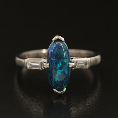 Platinum Black Opal Ring with Diamond Accented Shoulders