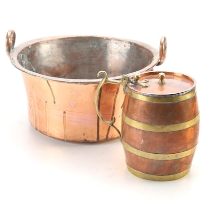 Russian Brass Mounted Copper Plated Stein with Hand Forged Copper Pot