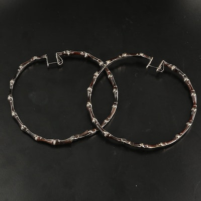 18K 0.76 CTW Diamond and Wood Inside-Out Bamboo Hoop Earrings