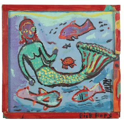 "Rick Borg Folk Art Acrylic Painting ""Mermaid,"" 2001"