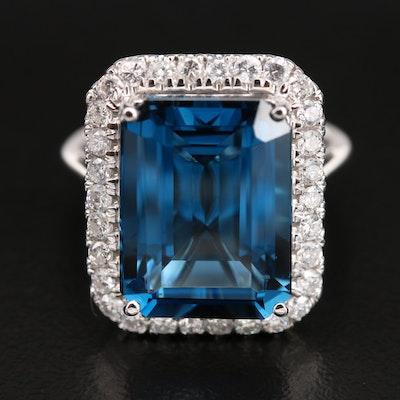 14K 11.78 CT London Blue Topaz and Diamond Halo Ring
