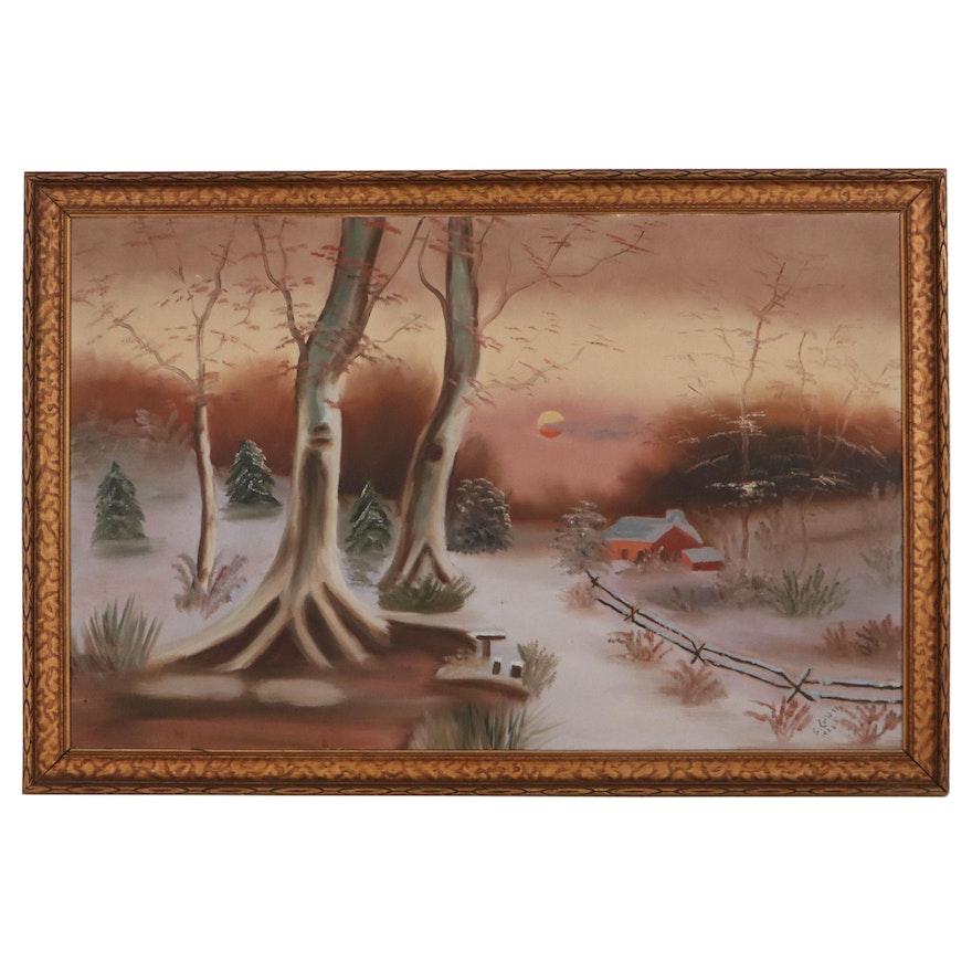 Winter Landscape Oil Painting, 1928
