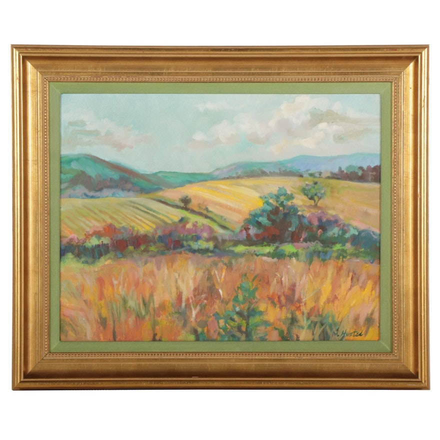 M. Husted Rolling Fields Landscape Oil Painting, Late 20th-21st Century
