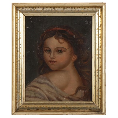 Cherubic Child Portrait Oil Painting, 19th Century