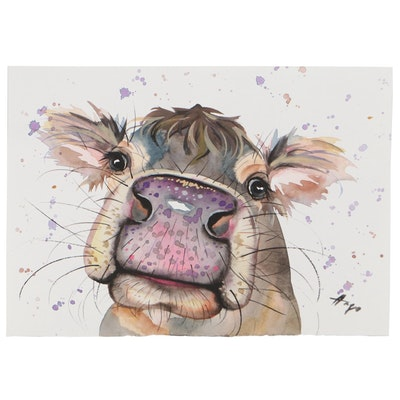 """Anne """"Angor"""" Gorywine Watercolor Painting of Cow, 2021"""