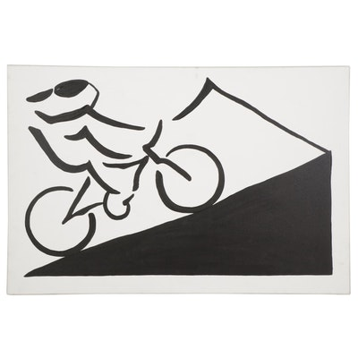 Minimalist Style Acrylic Painting of Cyclist, 21st Century